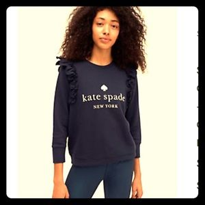Kate Spade logo pullover with ruffle detail